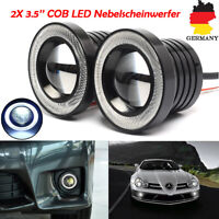 2X 3.5''COB LED Nebelscheinwerfer Halo Angel Eyes Rings DRL 3200LM 12V Rund Auto