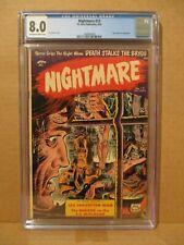 Nightmare 12 CGC 8.0 RUNNER-UP ON CENSUS! Kubert Bondage Torture 1954 St John VF