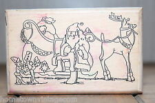 Santa Sleigh 703 Crafty Concepts 1994 Christmas Holiday Wood & Foam Rubber Stamp