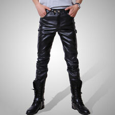 New Men Slim Fit Casual Pu Leather Skinny Pencil Pants Motocycle Trousers