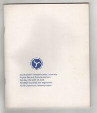 1982 SMU Commencement Program UMASS Dartmouth UNIVERSITY MASSACHUSETTS
