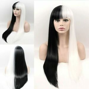 24inch Cosplay wig with bangs no lace Women Synthetic hair Black and white