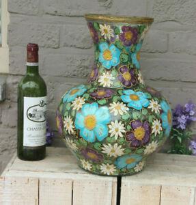 XL Mid century 1970 Vintage italian glass vase hand paint floral decor gorgeous