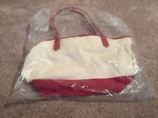 Longaberger Maroon/White Cloth Handbag with Leather Handles - New In Bag