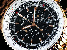 New Air Blue By Deep Blue Navigator Swiss Chrono Black Dial Rose Gold SS Watch