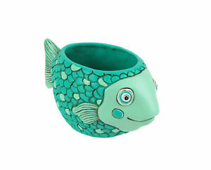 Allen Designs Whimsical Teal Blue Baby Fish Mini Planter For Succulents or Herbs
