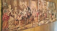 """Antique French Aubusson Style Tapestry 50"""" x 18""""~ Victorian Room Social Scene"""