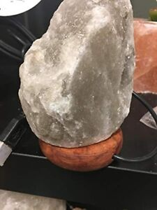 "Hand-cut Pure Natural Organic Himalayan salt USB Lamp Rock shape 4-6"" RARE Grey"
