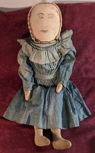 "Antique 1900 Folk Art Hand Made Painted Face 20"" Cloth Rag Doll Original Clothes"