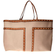 RRP €385 TORY BURCH Canvas Shoulder Tote Bag Leather Trim Extra Large Studded