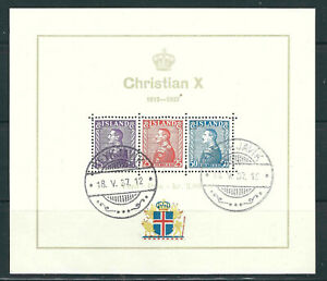 Iceland Stamps B5 Mi Block 1 King Christian X S/s Used NH VF 1937 SCV
