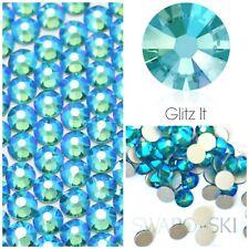 Swarovski X 50 Mixed Size Blue Zircon Shimmer Glue on Crystals Rhinestones Nail