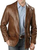New Men's Genuine Lambskin Leather Blazer Brown  TWO BUTTON Coat Jacket Soft
