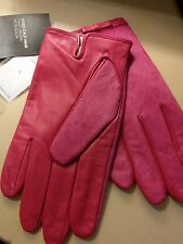 Banana Republic Women's Calf Hair Leather Gloves, Deep Pink, Size L