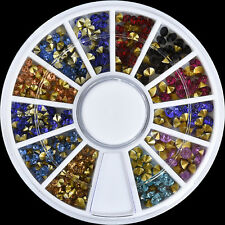Nail Art Decoration Dazzling Multi color Crystal Glitter Rhinestones Stud Wheel