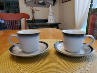 Vintage Noritake Stoneware Japan Captivate 8449 Set of 2 Cups and 2 Saucers