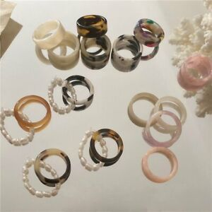 3Pcs/set Summer Color Pearl Resin Acrylic Finger Rings Adjustable Women Jewelry