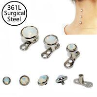 1x Snow Opal Dermal Anchor Skin Diver CZ Gem Flat Fashion Body Piercing Jewelry