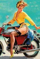 Biker Pin Up Girl Panneau Métallique Plaque Voûté en Étain 20 X 30 Cm