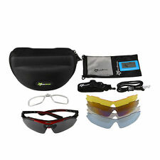 RockBros Bicycle Outdoor Sports Polarized Glasses Sunglasses 5 Lenses Black Red