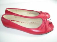 WOMENS NEW RED OPEN TOE COMFORT CAREER BALLET FLATS HEELS SHOES SIZE 6.5 M