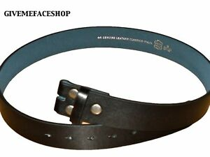 GENUINE LEATHER PLAIN BLACK SNAP ON BELT STRAP FOR BUCKLES, MENS LADIES, YOUTH