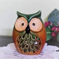 Owl Candle Burner Holder Glazed Pottery Tealight 5 inch Lights Up!