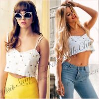 White Embellished Floral Cropped Top Size UK XS M L 6 10 12 US 2 6 8 Blogger ❤