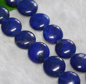 "New 12mm Egyptian Blue Lapis Lazuli Coin Gemstone Loose Beads 15"" AA"