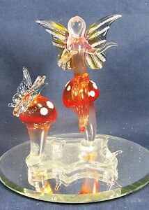 Fairy on Red Mushroom with Butterfly Hand Made Glass figurine