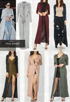 New Ladies Long Sleeve Belted Slinky Maxi Duster Jacket