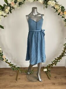 Influence Dress Size 8 & 12 Blue Chambray Denim Button Up Belted Midi Dress JA58