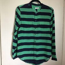 Equipment Silk Blouse S Small Blue Green Stripe Button Down Top Collarless