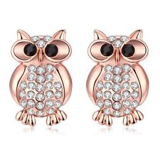 "18K Rose Gold Plated  Earrings Stud AAA Zirconia Push Back Owl  .76"" L168"