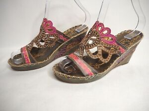 Padders 36 6 Terri Olive Green Pink Leather Woven Etched Cutout Open Toe Wedges