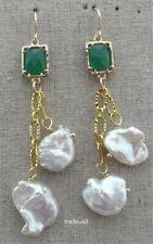 White Keshi Pearl Green Jade long hook Earrings