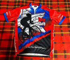 2002 Tour de Cure Bristol-Myers Men's Louis Garneau Red Blue Cycling Jersey Sz L