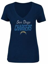 NFL Women's Heather Navy V-Neck Shirt San Diego Los Angeles Chargers Sz Small