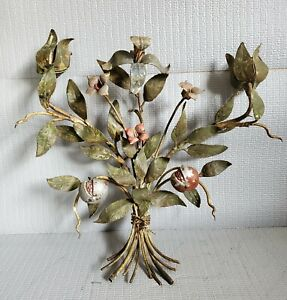 Antique Handpainted Wallhang Metal Flower Bouquet Candle Holder