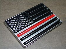 (1) THIN RED LINE AMERICAN FLAG FIREFIGHTERS 3D EMBLEM STICKER BADGE LOGO DECAL