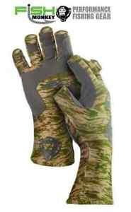 Fish Monkey Half Finger Green Water Camo Guide Gloves FM11GRWTRCAM (Select Size)