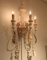 Rustic French Farmhouse Wall Sconce Tuscan Country Cottage Chic Light Iron Wood