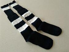 1 PAIR New Football Socks Black/White Hoop Child Size MED 3-6 Shoe Hockey Rugby