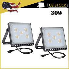 2 x30W LED Flood Light Outdoor US Plug Security Slim Landscape Garden Warm White