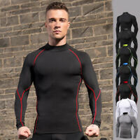 Men's Gym Compression Slim Tight Shirts Fitness Sports Cycling Tops Cool Dry