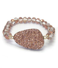 Druzy Sparkle Facet Glass Bead Stretch Bracelet  Rose Gold