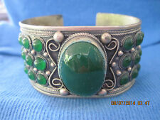 STUNNING SUBPERB Silver Wide Art Deco Adorned w/ 'Gemstone' Cuff Bracelet..#7031