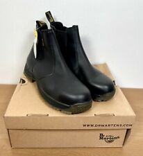 Dr Martens Black Leather Steel Toe Cap Chelsea Safety Boots UK 8 Pull On