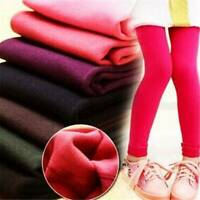 90-135cm Kids Girls SOFT Fleece Leggings Stretchy Skinny Trousers Pants 2-7YEARS