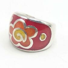 Sterling Silver Enamel Ring Size 5